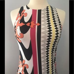 ANALILI Geometric Print Stretch Mod Mini Dress XS